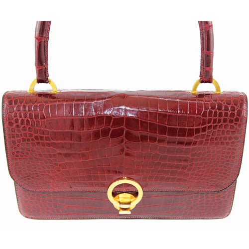 282f92469f69 Hermès Red Croco Vintage Bag 60s - Katheleys for Unique Vintage Luxury