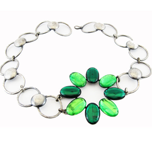 Reserved-Jacques Gautier green two-tones vintage necklace 60s
