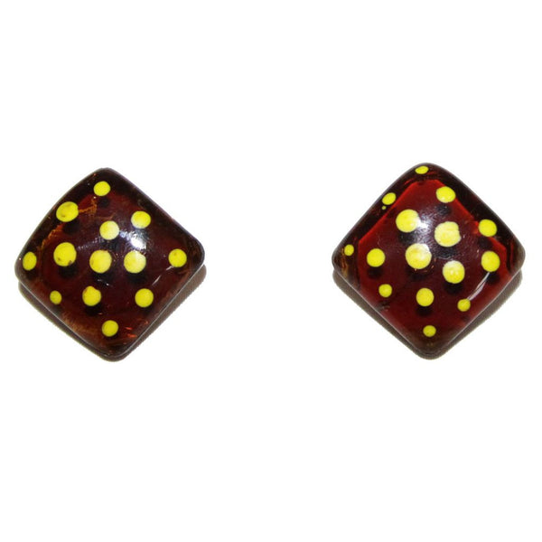 Jacques Gautier Funny yellow dots earrings c.1960 - Katheleys for Unique Vintage Luxury