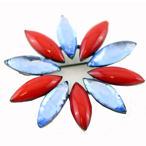 Reserved - Jacques Gautier blue and red enamelled flower vintage brooch 60s