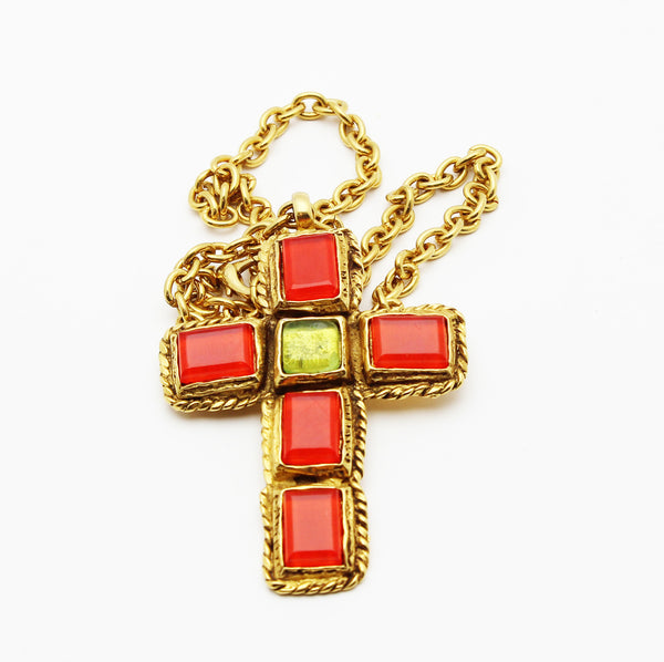 Christian Lacroix rare couture orange glass vintage cross pendant 90s - Katheleys for Unique Vintage Luxury