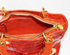 Exceptional Lady Dior orange croco handbag
