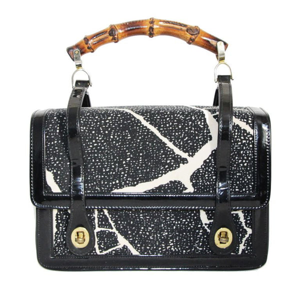 Great marble effect Meyers vintage bag of the 60s, bamboo