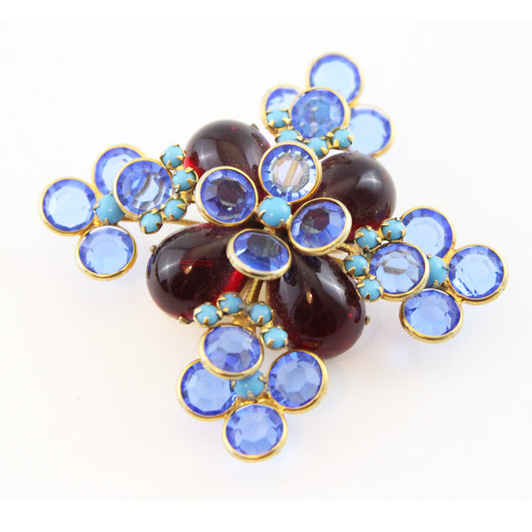 mimi-di-niscemi-60s-blue-crystal-red-cabochons-brooch-collectable
