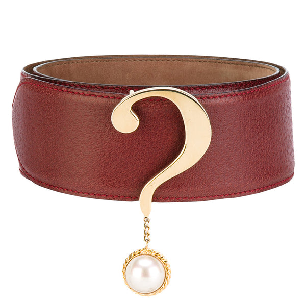 Moschino question mark red vintage belt
