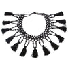 Moschino Black Vintage Tassel Necklace 90s