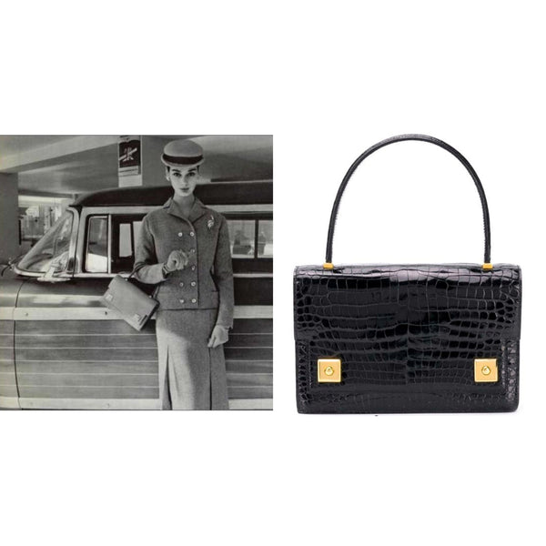 Hermes Vintage The Piano Black porosus crocodile Audrey Hepburn 60s - Katheleys for Unique Vintage Luxury