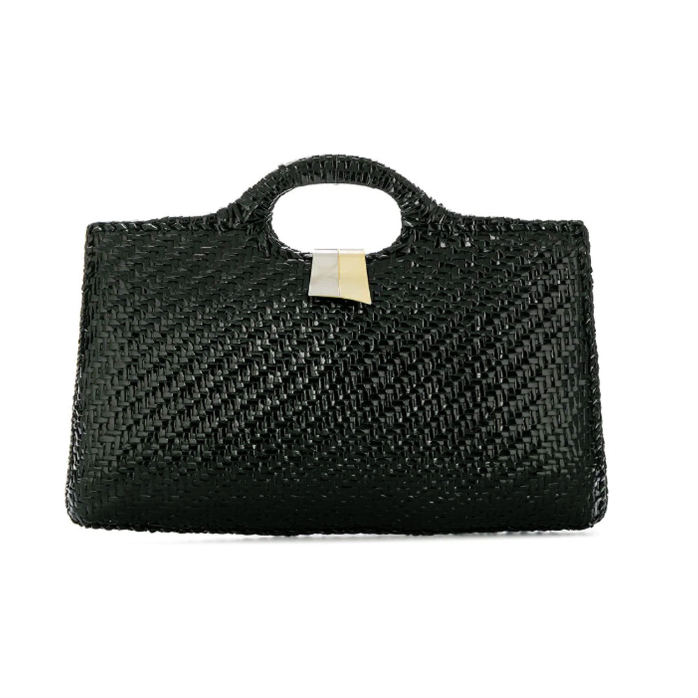 Fabulous Large Rodo Rafia black vintage bag 70s - Katheleys for Unique Vintage Luxury