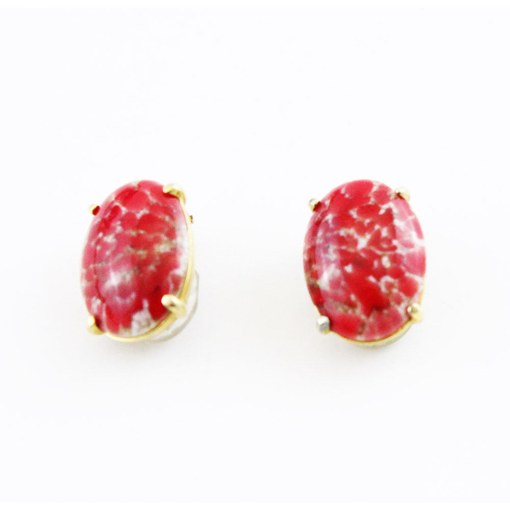 schiaparelli-50s-pink-fushia-marble-murano-glass-earrings-vintage-clip-on-shop-katheleys-vintage-belgium-expert-collector