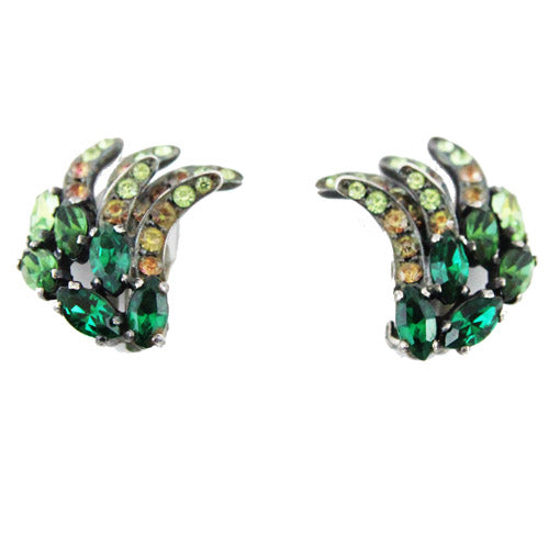 Schiaparelli Green crystal 50s vintage Earrings