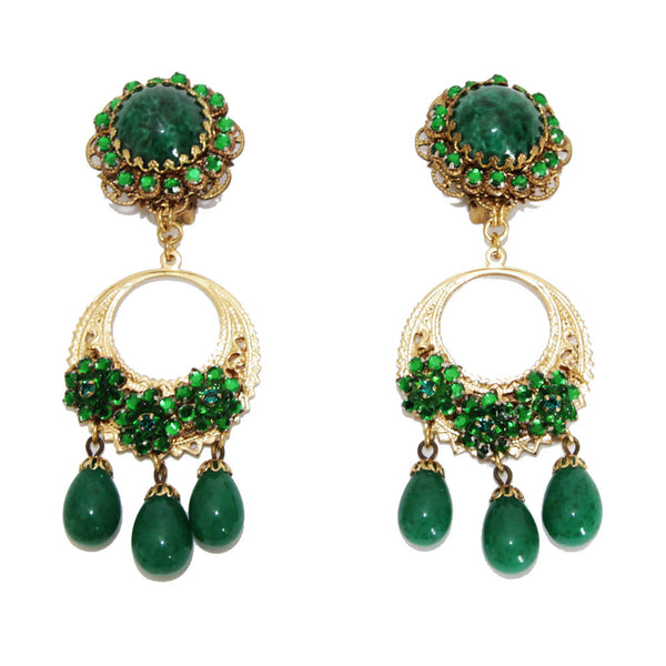 Gorgeous vintage Stanley Hagler green earrings of the 70s - Katheleys for Unique Vintage Luxury