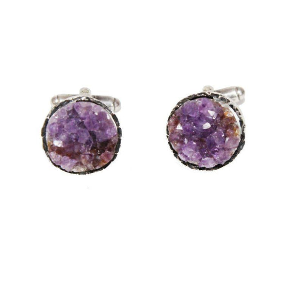 Amazing brutalist amethyst cufflinks of 1950s - Katheleys for Unique Vintage Luxury
