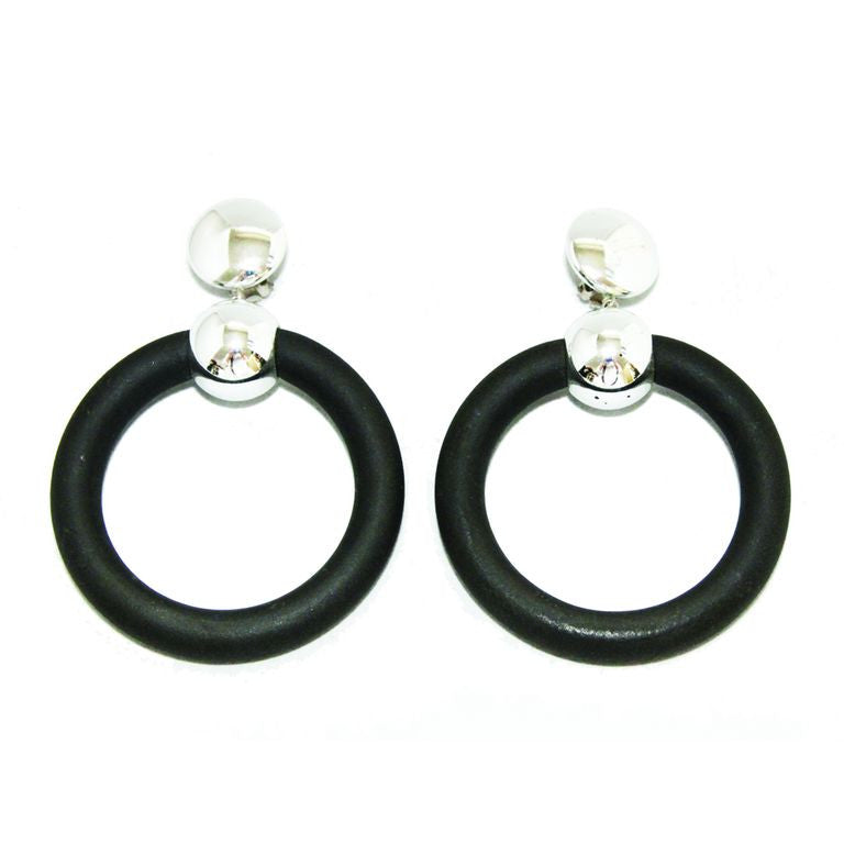 Unique chrome & rubber french earrings of the 70s