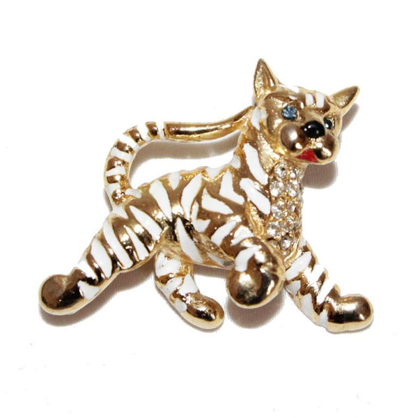 Rare & gorgeous white striped tiger brooch of the late 60s