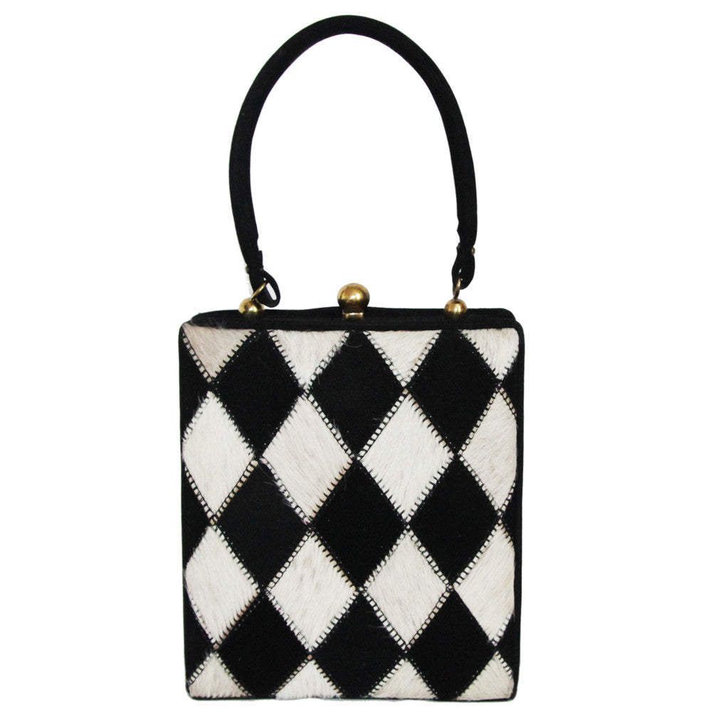 Black and white vintage handbag c.1950