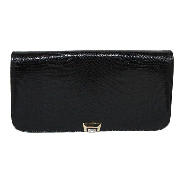 Exceptional large Gucci vintage black lizard clutch