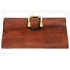 Unique wood vintage 70s clutch