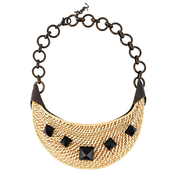 YSL vintage Rock & raffia necklace by Tom Ford c.2000