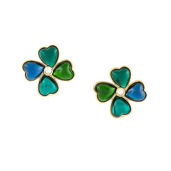 Reserved - Gorgeous Lucky YSL heart clover earrings of the 80s