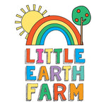 rainbow, tree, sun image with the text Little Earth Farm