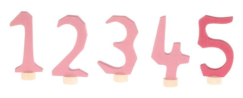Grimms Decorative Numbers Set 1-5, pink