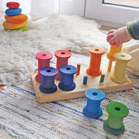 11055 Grimms Stacking Game Large Bobbins, Rainbow Colours