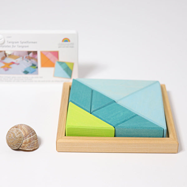 grimms creative set tangram incl templates blue green