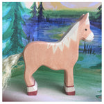Holztiger Horse, standing, light brown - Little Earth Farm