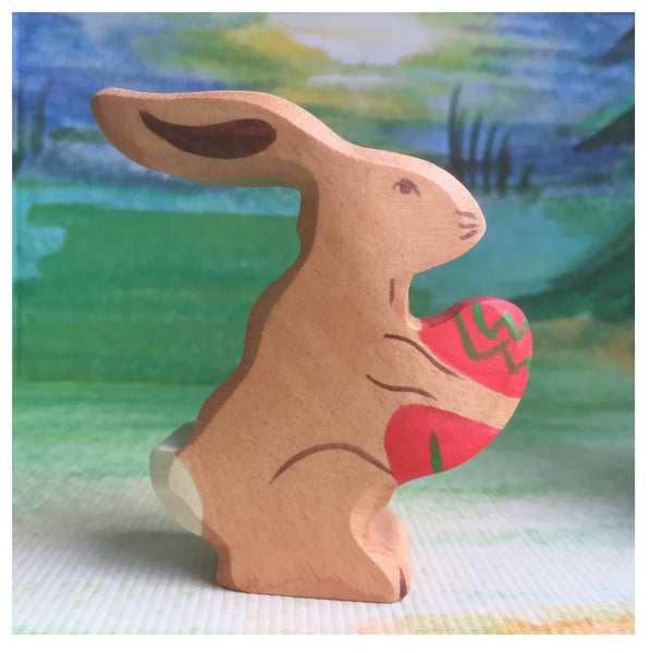Holztiger Easter Hare, sitting - Little Earth Farm