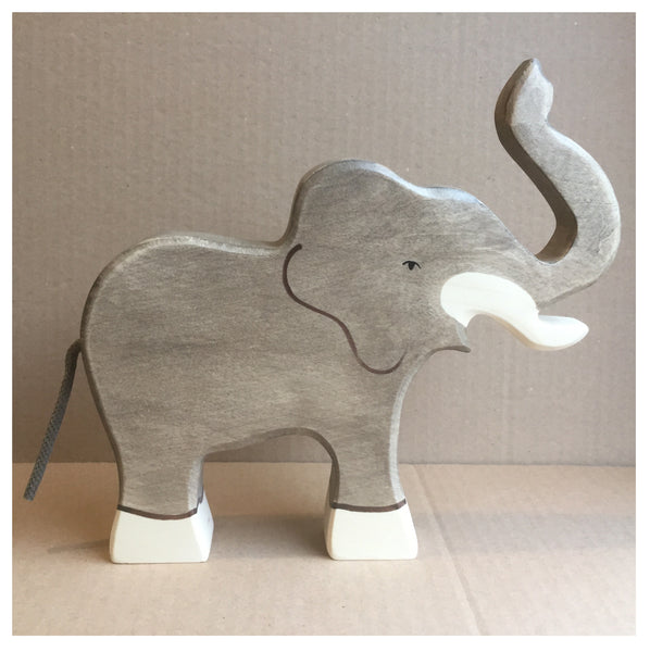 Holztiger Elephant, trunk raised - Little Earth Farm