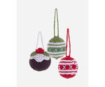 Pebble Christmas Knitted Baubles Set of 3 decorations