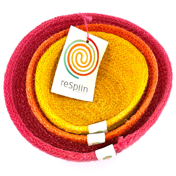 respiin jute mini bowl set fire