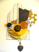 Thrift Design Bird Brooch - Firecrest