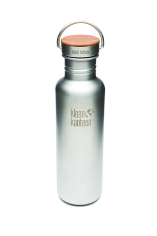 Klean Kanteen 'Classic Reflect' 27oz / 800ml - Stainless Brushed with Bamboo and Stainless Steel Cap