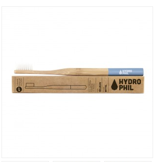 hydrophil sustainable and vegan adult toothbrush azure blue