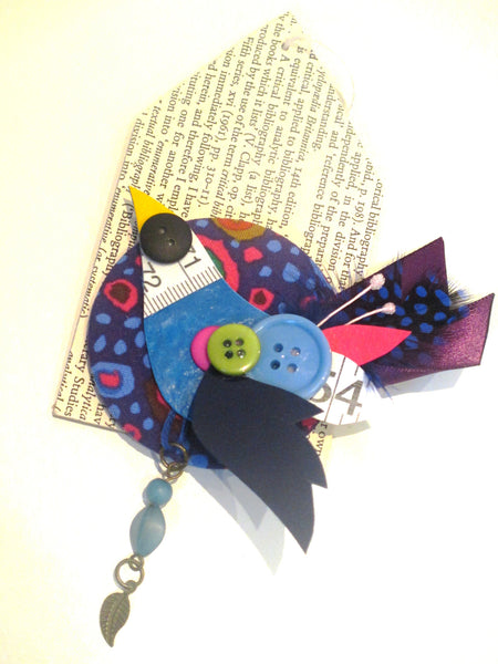 Thrift Design Bird Brooch - Bluebird