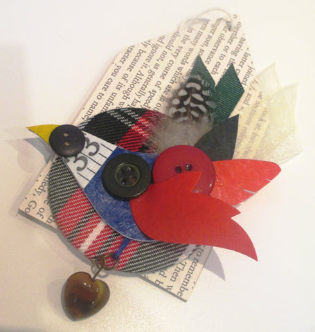 Thrift Design Bird Brooch  - Bullfinch