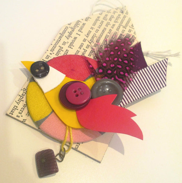 thrift design bird brooch goldfinch