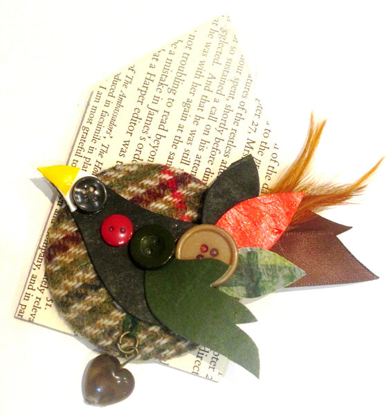 thrift design bird brooch grouse