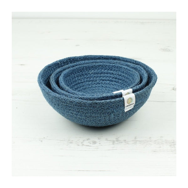 Respiin Jute Mini Bowl Set - Denim - Little Earth Farm