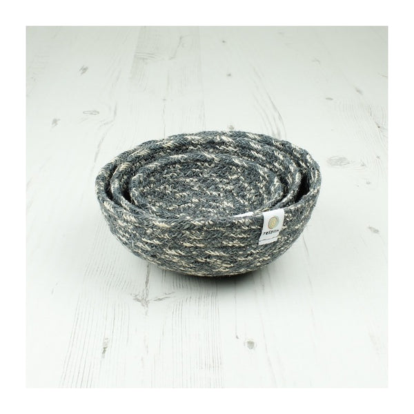 Respiin Jute Mini Bowl Set - Grey / White - Little Earth Farm