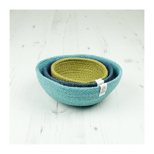 Respiin Jute Mini Bowl Set - Ocean - Little Earth Farm