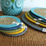 Respiin Round Seagrass and Jute Coaster - Natural / Turquoise