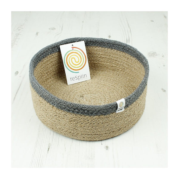 Respiin Shallow Jute Basket - Medium - Natural/Grey - Little Earth Farm