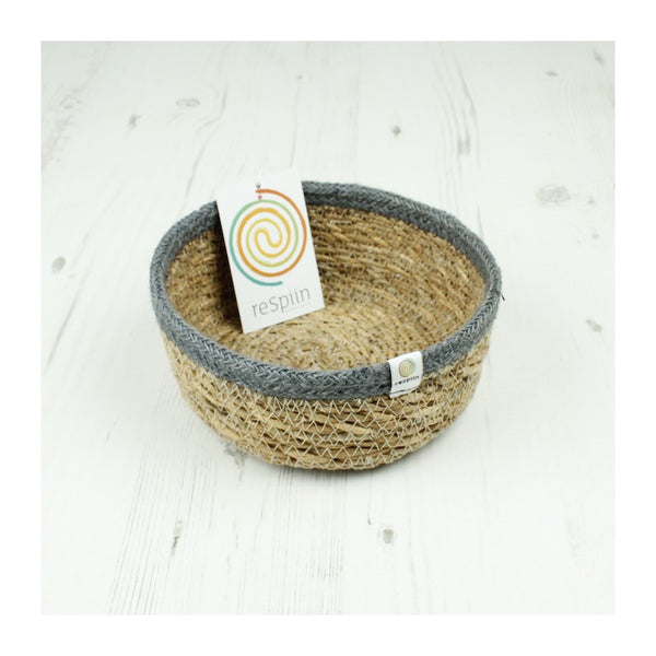 Respiin Seagrass and Jute 'Fruit Basket' - Small - Natural/Grey - Little Earth Farm