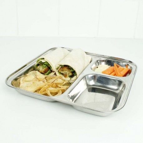 A Slice of Green - Square Stainless Steel Divided Plate - 25cm - Little Earth Farm
