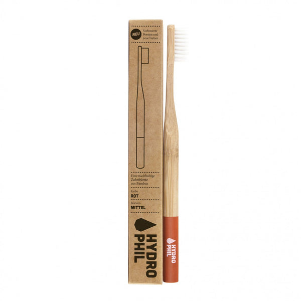 HYDROPHIL Sustainable and Vegan ADULT Toothbrush - Red / Medium