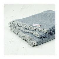 respiin zig zag wool throw with fringe denim