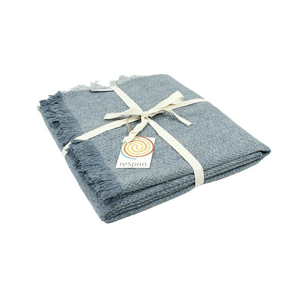Respiin Zig-Zag Wool Throw with Fringe - Denim - Little Earth Farm