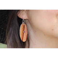 Avocado Wood Earrings with Ruby - Jason Mraz